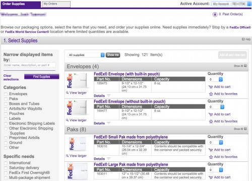 FedEx Order Supplies