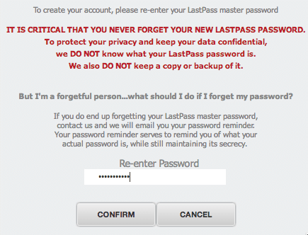 LastPass - Create Account