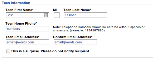 Teen info Sign Up