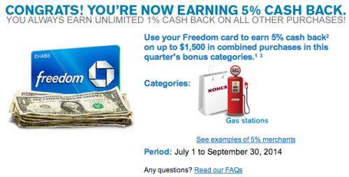 Chase Freedom 5% Cash Back