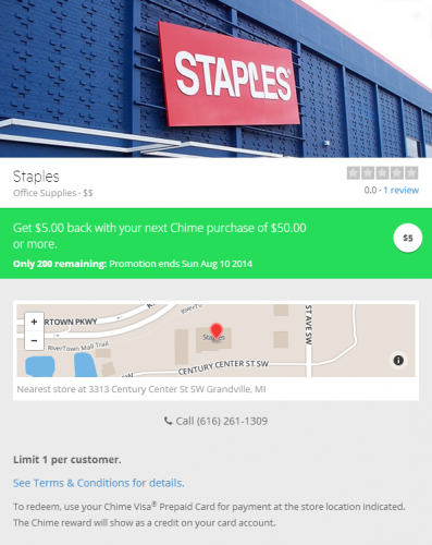 Staples Chime Deal