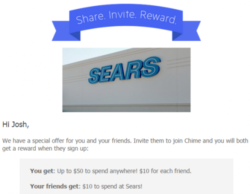 Give your friends $10 at Sears Chime
