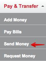 REDcard Menu Send Money
