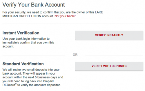 Verify Bank Account REDcard