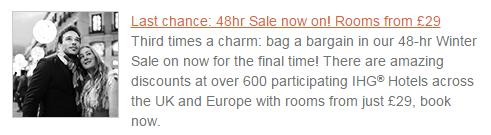 IHG 48 Hour Sale Deal