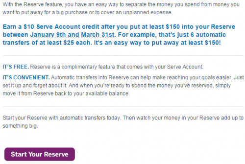 Serve $150 to Reserve