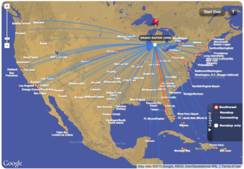 Southwest Airlines Grand Rapids Route Map
