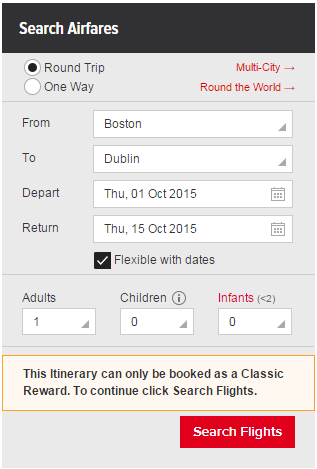 Search Aer Lingus with Qantas