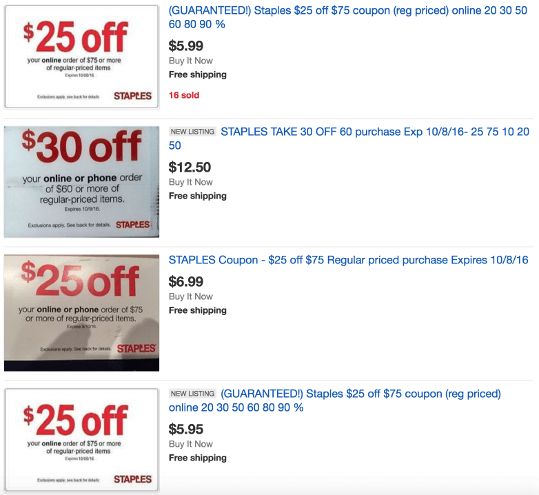 Staples 25 off 75 on eBay